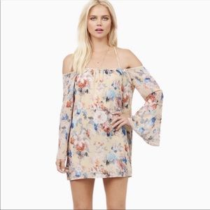 Tobi Suzie Off Shoulder Floral Bell Sleeve Dress